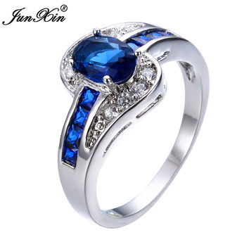 JUNXIN Fashion Oval Cut Blue Sapphire Ring Gold Filled Crystal Jewelry Promise Engagement Couple Rings For Men And Women