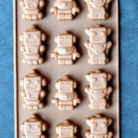 Flexible Silicone Chocolate Mold Ice Candy Molds Bakeware - Type F - 15 Cutie Robots