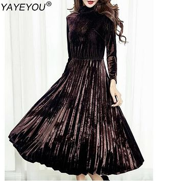 YAYEYOU Women's Fashion Dresses A-line Pleated Vintage Dress Long Sleeve Velvet Dress