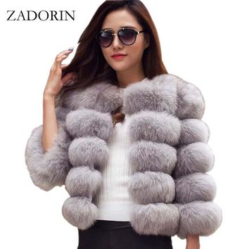 S-3XL Mink Coats Women 2017 Winter New Fashion Pink FAUX Fur Coat Elegant Thick Warm Outerwear Fake Fur Jacket Chaquetas Mujer