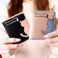2016 new women wallet cat  ladies cute credit card thin Clutch wallets cheap womens purse PU leather mini small wallet 2 fold