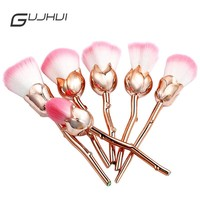 2017 New GUJGUI Brand Brush Set Makeup Professional Foundation Blush Powder 6pcs Soft Cute Rose Gold Pink Makeup Brushes Set