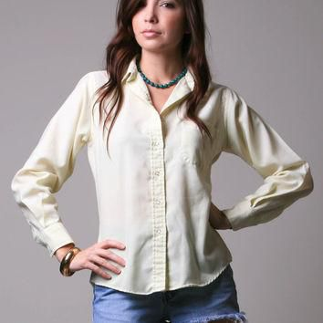 80s Izod Lacoste Shirt - Yellow Lacoste Polo - Long Sleeved Button Down Blouse - S M