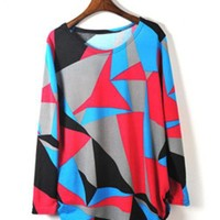 Long Sleeve Bat Geometry Sweater$43.00