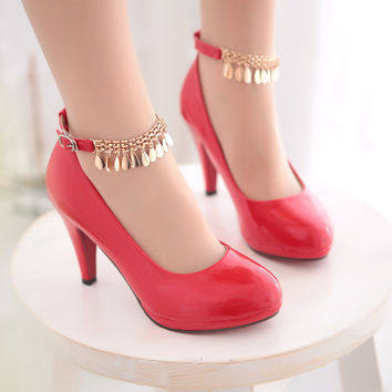 Big size 34-43 Shimmery Mary Jane Style Party Wedding Shoes Round Toe High Heels Platform Women Pumps