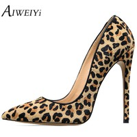 AIWEIYi Women's Stiletto High Heels Leopard Print Pump Shoes Pointed toe Slip On High Heels Spring Autumn Slip On Shoes Woman