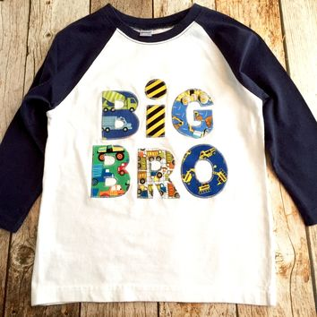 Construction truck Big Bro Raglan Navy and White Lil Sibling pregnancy Announcement Shirt New Baby dump truck digger loader hospital outfit