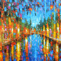 City large size Abstract Cityscape Landscape Textured City Painting Home Office Wall Decor Oversized wall Artwork Dmitry Spiros