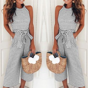 Sexy Office Lady Striped Jumpsuits Women Summer O-neck Bowknot Pants Playsuit Sashes Pockets Sleeveless Rompers Overalls