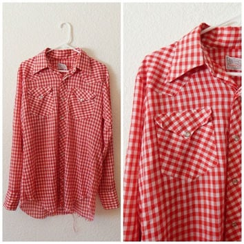 Vintage Mens Western Red White Checkered Gingham Snap Front Long Sleeve Shirt Large