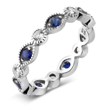 0.70 Ct White and Blue Simulated Sapphire 925 Sterling Silver Eternity Ring