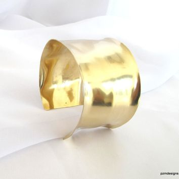 Gold wrist cuff, hand forged brass armband, artisan crafted tribal cuff