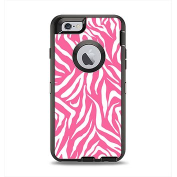 The Pink & White Vector Zebra Print Apple iPhone 6 Otterbox Defender Case Skin Set