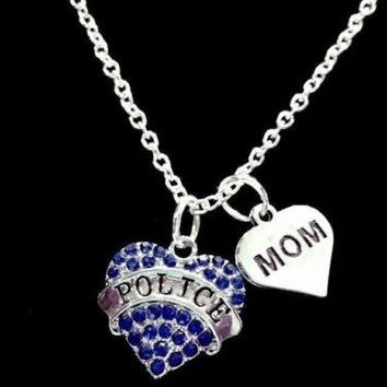 Blue Crystal Police Heart Gift For Officer Mom Charm Necklace