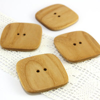 Large handmade buttons. Set of 4 natural square shape ash wood buttons in size 1.7in (43mm) - S6275