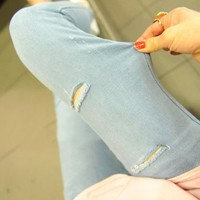 New Style Ripped Light Blue Denim Skinny Jeans