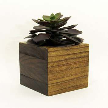 Large Wood Succulent Planter, Modern Cube Plant Holder, Indoor Garden Planter Box, Cactus Planter, Office Planter, Home Decor