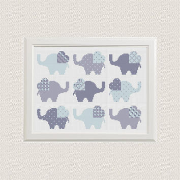 baby cross stitch pattern Elephant Set of 9,  2 color options animal sampler cross stitch modern PDF Pattern Threads