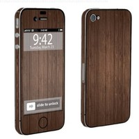 Apple iPhone 4 or 4s Full Body Decal Vinyl Skin - Brown Wood By SkinGuardz
