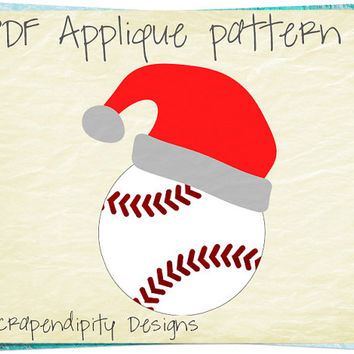 Santa Baseball Applique Template - Sports Quilt Applique Pattern / Santa Hat Wall Hanging / DIY Kids Sports Shirt / Christmas Quilt AP307-D