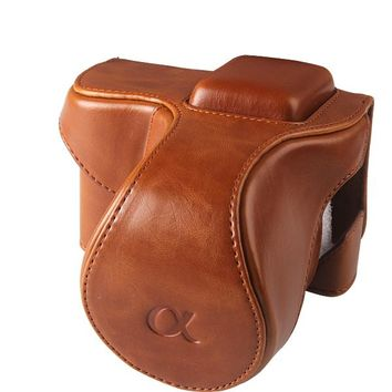 Brown Color PU Leather Camera Case Pouch bag wth Neck Strap for SONY NEX5 NEX-5C NEX-5N 18-55mm lens