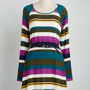 Mid-length Long Sleeve A-line Color My Whirl Dress