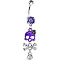 Tanzanite Gem Cute Skull and Dangle Crossbones Belly Ring | Body Candy Body Jewelry