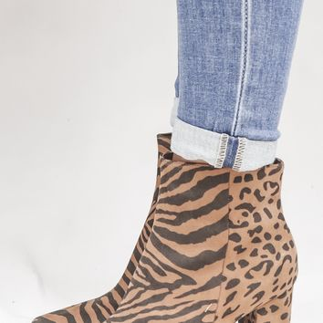 Point to Prove Brown Tiger & Leopard Print Bootie