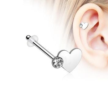 Adorable Heart Sparkle Piercing Stud with O-Rings