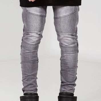 Grey Stonewash Biker Denim