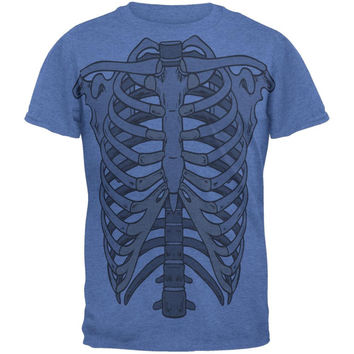 Rib Cage All Over Heather Blue Adult T-Shirt