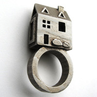 Doll House Ring - Stainless Steel Jewelry - Pre Colonial House - inspired by Jewish Wedding Rings -
