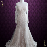 Sexy Vintage Style Lace Wedding Dress with Off Shoulder Long Sleeves | Meg