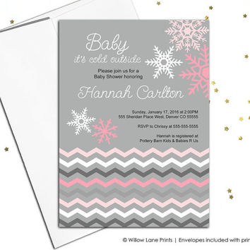 Winter baby shower invites for girls, winter wonderland baby shower invitation, snowflake baby shower invite, pink and gray - WLP00852