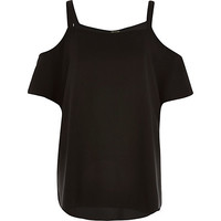River Island Womens Black cold shoulder t-shirt