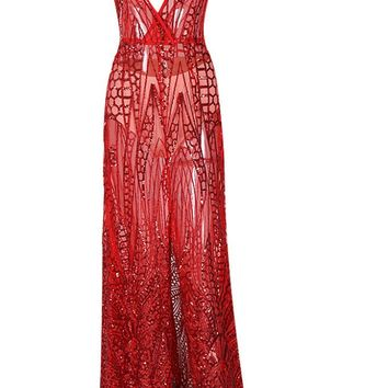 Honey Couture ALINA Red 3D Crystal Effect Evening Gown Dress