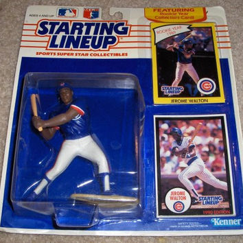1989 - Kenner - MLB - Starting Lineup - Jerome Walton - Chicago Cubs - Vintage Action Figure - Rookie Card & Collector Card - Rare - Collectible