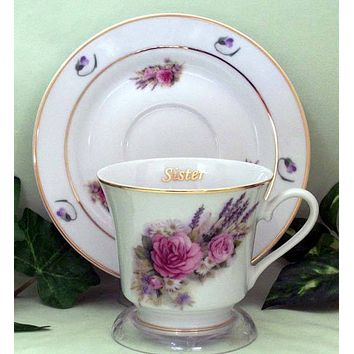 Sister Personalized Porcelain Tea Cup (teacup) and Saucer