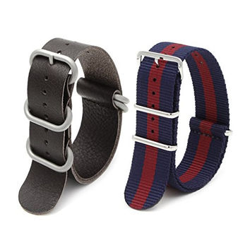 2pc 22mm Nato Ss Nylon Striped Blue/red , Brown Leather with Silver Clasp Replacement Watch Strap Band