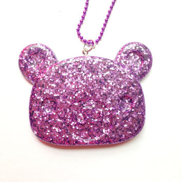 Kawaii Glitter Bear Necklace//Resin Pendant//Purple