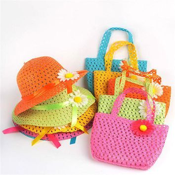 PEAP78W Hot Selling Summer Hat Girls Kids Beach Hats Bags Flower Straw Hat Cap Tote Handbag Bag Suit  j2