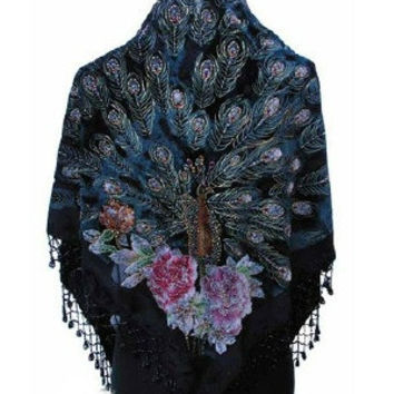 Black Handmade Hand Beaded Silk Velvet Triangle Peacock Shawl