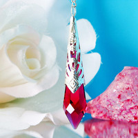 Red Crystal Suncatcher Rear View Mirror Car Charm Swarovski Crystal Car Accessories