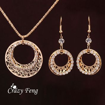 Women Fashion Casual Accessories Gold-color Earrings Round Circle Shiny Crystal Pendant Necklace Set Costume Jewelry Sets