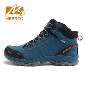 MERRTO Men's Winter & Fall Leather Waterproof Outdoor Hiking Trekking Boots Shoes Sneakers For Men Climbing Mountain Boots Shoes