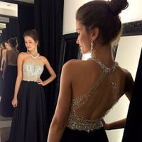 Don's Bridal Sexy Black Prom Dress 2016 Long Halter Beaded Slim Backless fiesta Formal Evening Gown Party Pageant Dresses