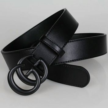 gucci unisex fashion simple all match retro double g letter metal needle buckle cowhide genuine leather belt waistband
