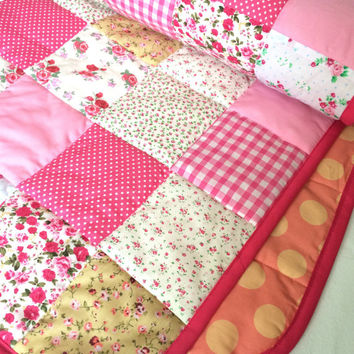 Shabby Chic Baby Quilt, Pink Baby Quilt, Pink Baby Blanket, Baby Quilt, Crib Quilt, Patchwork Quilt, Patchwork Baby Quilt, Quilts Handmade
