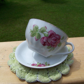 Vintage Occupied Japan Teacup and Saucer Set...Mid Century...Oriental...Delicate China Cup...Collectible