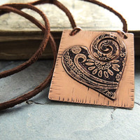 Etched Heart Necklace, Copper Paisley Heart, Unique Heart Pendant, Long Leather Cord, Valentine's Day, Soldered Heart, Gift for Her